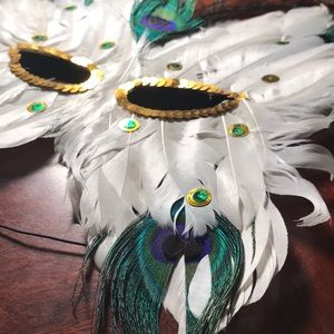 Accessories - Feathered Sequin Masquerade Mask